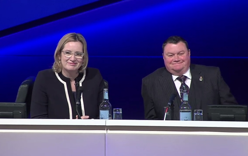 Amber Rudd and Steve White at the Police Federation Conference in May