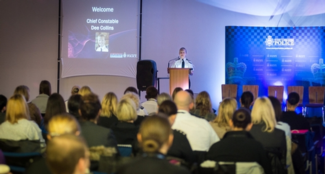 Chief Constable Dee Collins speaking during the event