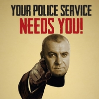 Brian Docherty features in a Fed poster aimed at encouraging officers to highlight cuts to policing