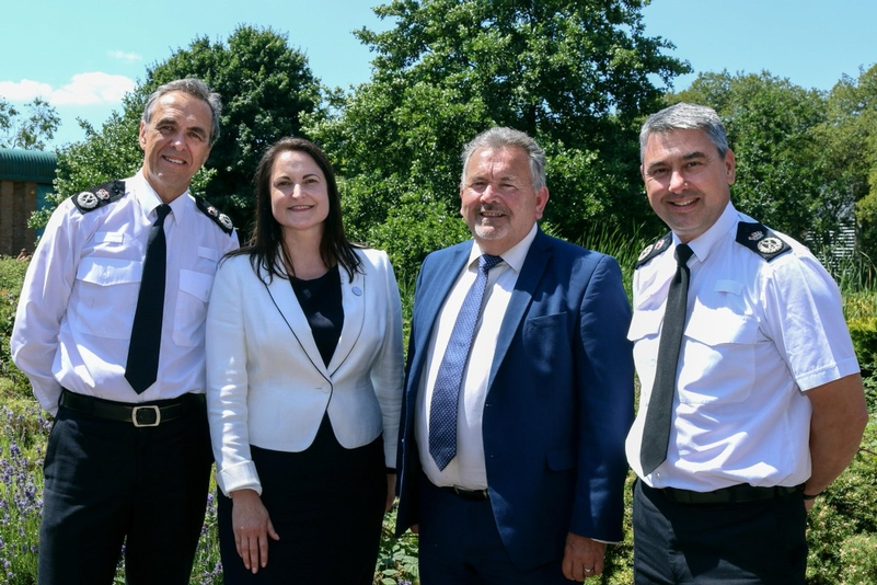 (L-R) Devon and Cornwall Chief Constable Shaun Sawyer and Police and Crime Commissioner Alison Hernandez, Dorset Police and Crime Commissioner Martyn Underhill and Chief Constable James Vaughan