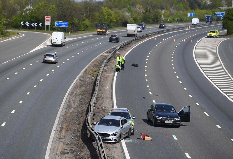 The end of a police pursuit on the M11 today. Vehicle crime is down by 34 per cent