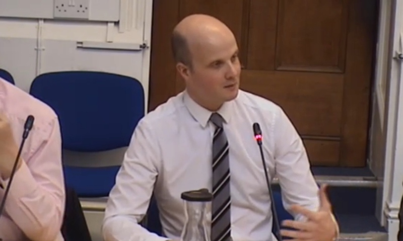 Adam Simmonds at his final police and crime panel meeting earlier this year