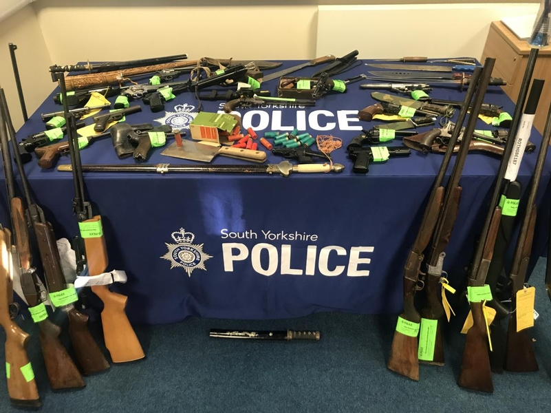 Weapons recovered by South Yorkshire Police