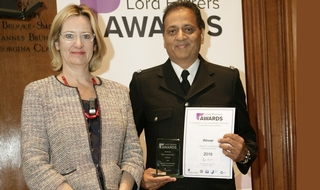 Home Secretary Amber Rudd, left, with Lord Ferrers Award winner SC Bobby Dev