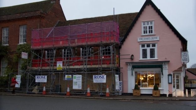 Boarded up: The East of England Co-op after the ram raid  Picture: Dedham Parish Council