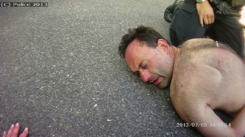 Paul McClelland after being tasered by police. Photo: Sussex Police/PA Wire