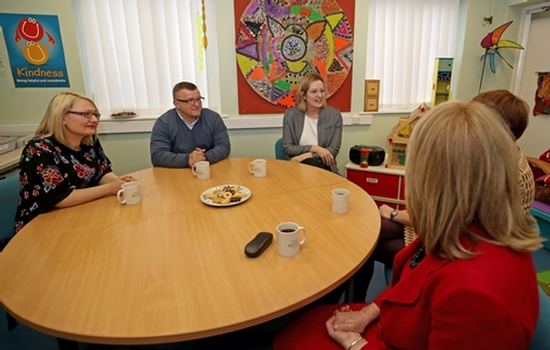 Home Secretary Amber Rudd (centre right) with Barnardo's staff during a visit to the Barnardo's Safer Futures sexual abuse service in Salford, Greater Manchester. Photo: Peter Byrne/PA Wire.