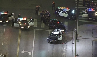LAPD officers finally caught up with the three rogue cops. (Image @KTLA)