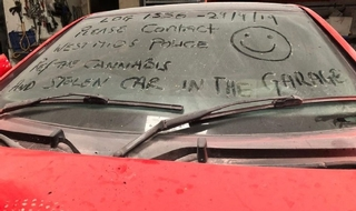Police write message to robbers on windscreen of stolen car