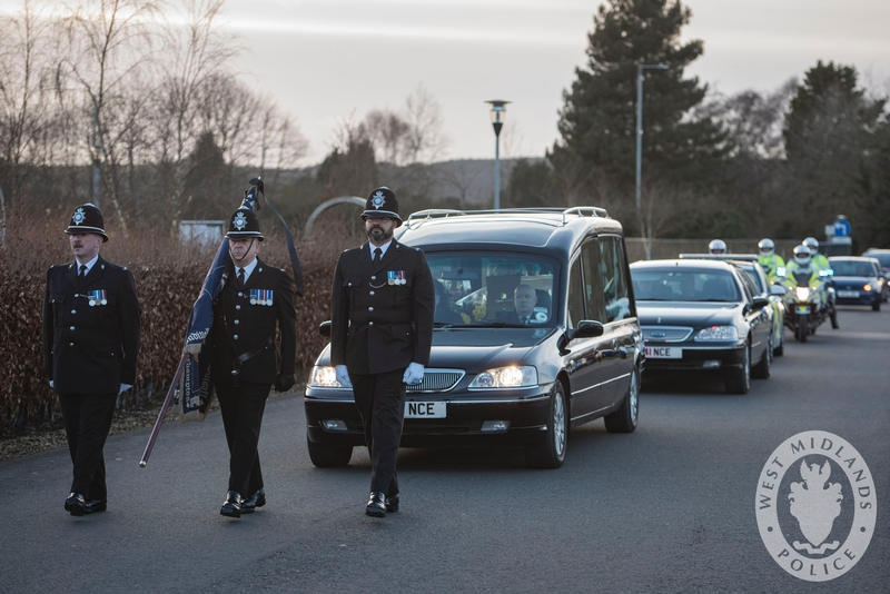 Solemn act: Leading the cortege at Wyre Forest crematorium for PCSO Holly Burke's funeral