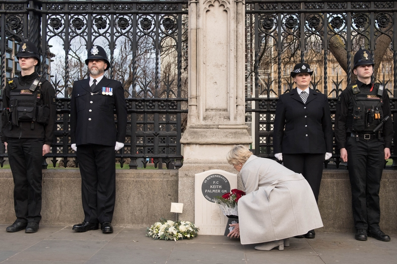 Flowers for a hero: Police Memorial Trust chairwoman Geraldine Winner at the memorial to PC Keith Palmer