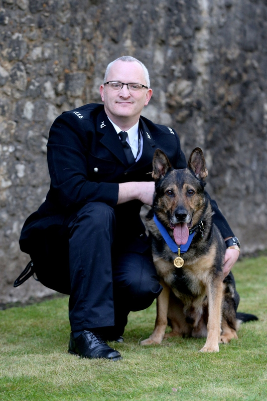 PC Dave Wardell with Retired Police Dog Finn, who performed on Britain's Got Talent this year will be centre-stage during the rendition of John Williams' Hymn for the Fallen.