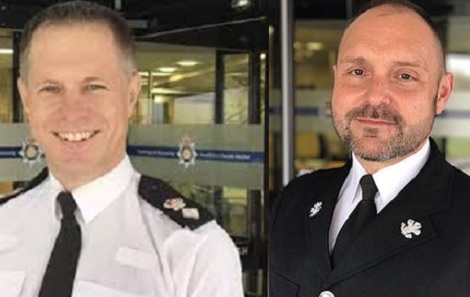 Suspended: T/ACC Marc Budden, left, and Chief Supt Mark Wallender