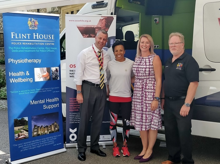 Dave Blundell, Dame Kelly Holmes, Julie Rawsthorne and Kevin Bishop at Flint House (Picture via Twitter: Police Charities - UK)