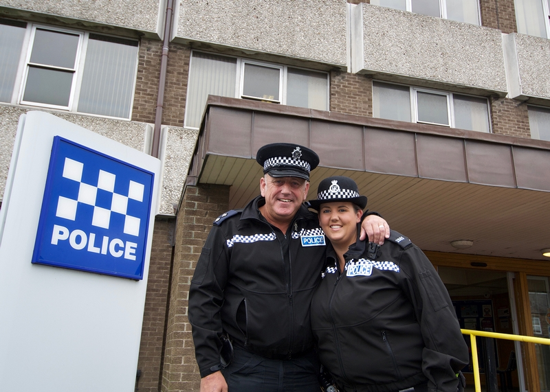 Two's company: Father and daughter Ronnie and Sam Lowes on the Northumbria inspector's last day in the force