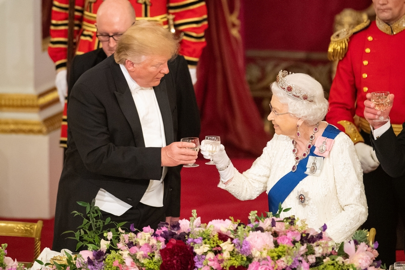 Cheers Ma'am: Donald Trump with HM Queen during his last visit to the UK