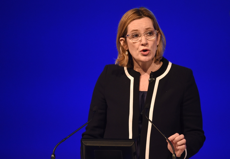 Amber Rudd addressing the Police Federation Conference. Photo: Joe Giddens/PA Wire