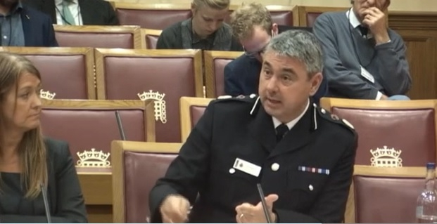 Chief Constable James Vaughan speaking at the House of Lords' Science and Technology Committee
