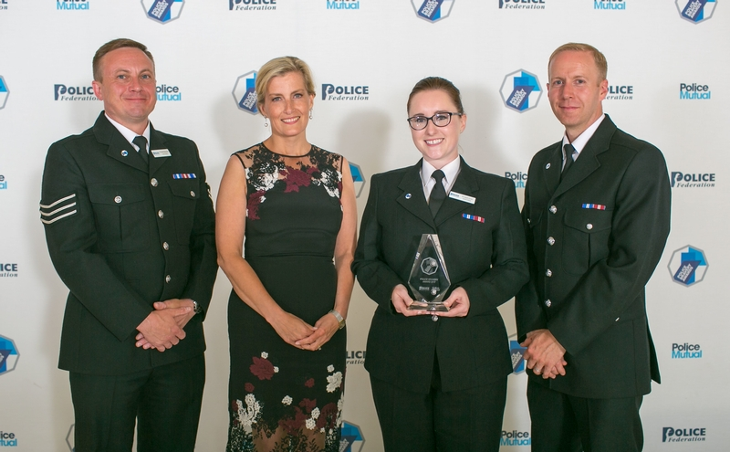 PC Elliott Richardson, PC Sarah Currie and PC Michael Otterson of Northumbria Police with HRH The Countess of Wessex