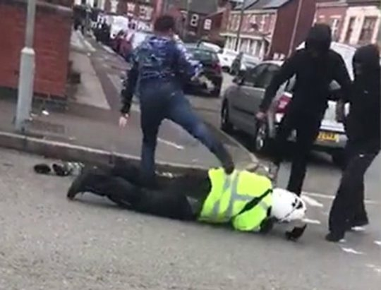 Rising tide of violence: A traffic warden gets a kicking in the West Midlands