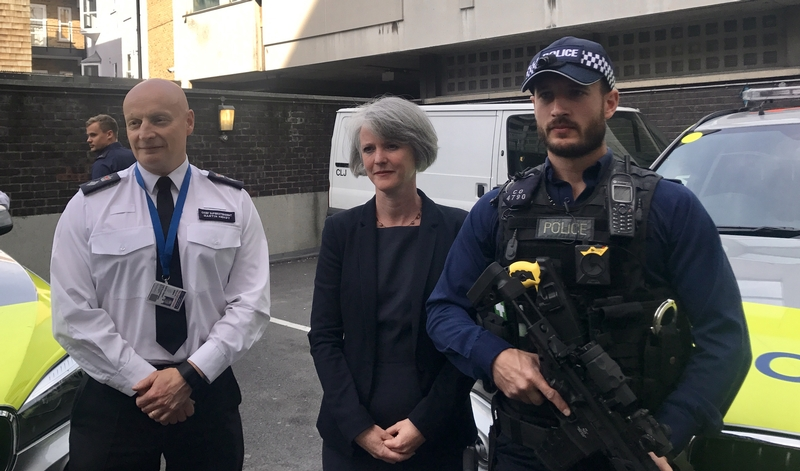 Chief Superintendent Mark Hendy (left) and deputy mayor Sophie Linden (middle) believe body-worn cameras will improve armed policing (Credit: John Toner)
