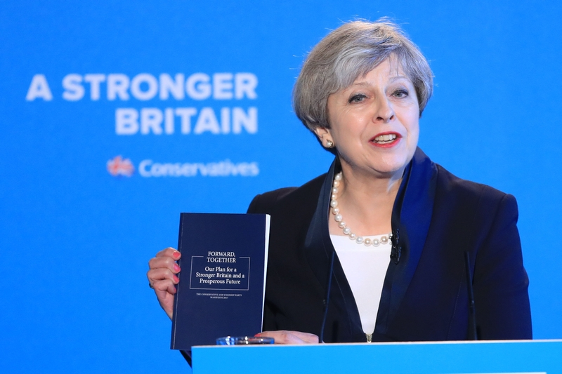 Theresa May launching her party's manifesto in Halifax. Photo: Press Association