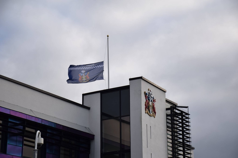 TVP's flags flying at half-mast as a mark of respect
