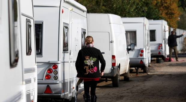 Unauthorised: Caravans are parked up on an illegal site