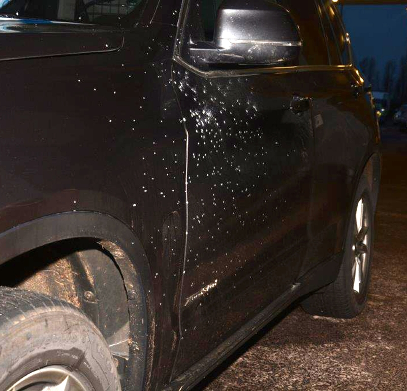 Armed response vehicle: Hit by pellets