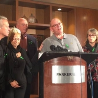 Press conference: From left, Bruce Charles and Charlotte Charles (Harry's mother), lawyer Radd Seiger, Tim Dunn (Harry's father) and Tracey Dunn at the Parker New York Hotel