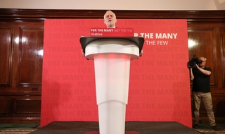 Jeremy Corbyn delivers his speech in central London