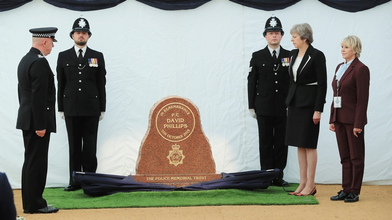 The stone is unveiled by Prime Minister Theresa May, Geraldine Winner and CC Andy Cooke (left)