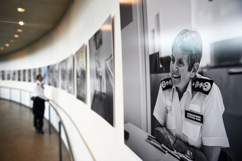 Gallery landing: A photograph of Commissioner Cressida Dick that is on display as part of the 'Women of the Metropolitan Police Service: A Strong Future' exhibition