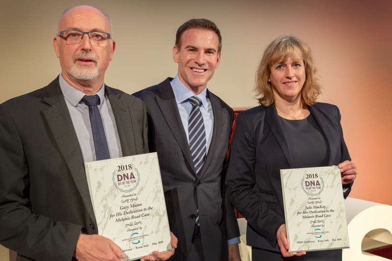 Detective Gary Mason and ex-DCI Julie MacKay who lead the murder investigation received the award at a ceremony in Rome