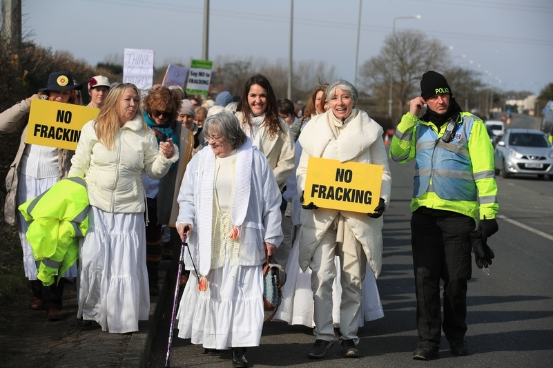 Protesters, including actress Emma Thompson, at an anti-fracking walk and silent protest at the Cuadrilla site in Preston on March 21. Photo credit: Peter Byrne/PA Wire