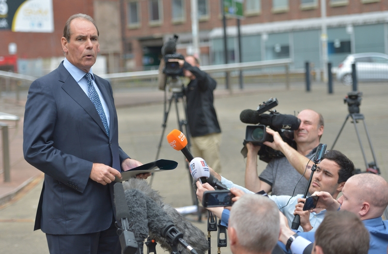 Sir Norman Bettison speaking to the media outside Preston Crown Court. Photo: Peter Powell/PA Wire