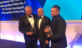 (L-R) PC Shaun Cartwright, Home Secretary Sajid Javid and PC Charlie Guenigault